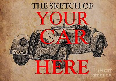 Personalized Drawing - The Sketch Of Your Own Car, Ink On Vintage Background by Pablo Franchi