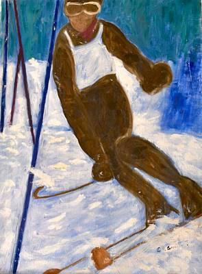 Ski Run Painting - The Ski Run by Corinne Hunt-Greenberg