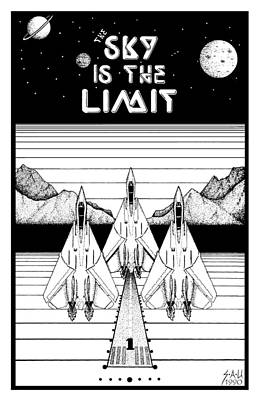 Fighter Jet Drawing - The Sky Is The Limit by Sheryl Unwin
