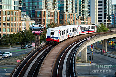 Photograph - The Skytrain In Vancouver by Wayne Wilton