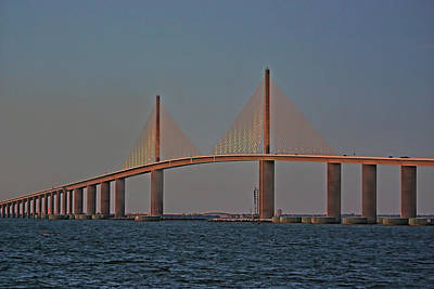 Photograph - The Skyway At Twilight by HH Photography of Florida