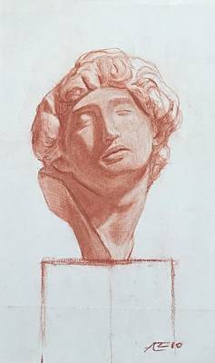 Drawing - The Slave After Michelangelo Bust by Alejandro Lopez-Tasso