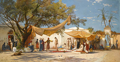 The Slave Market Painting - The Slave Market by Hermann Corrodi