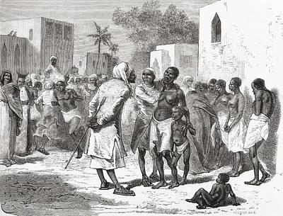 Slaves Drawing - The Slave Market In Zanzibar, Tanzania by Vintage Design Pics