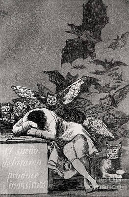 Engraving Painting - The Sleep Of Reason Produces Monsters by Goya