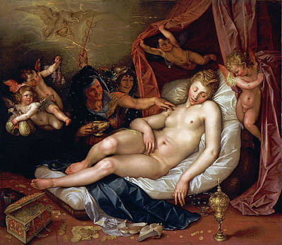 Painting - The Sleeping Danae Being Prepared To Receive Jupiter by Hendrik Goltzius