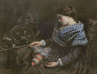 Sewing Machine Painting - The Sleeping Embroiderer by Gustave Courbet