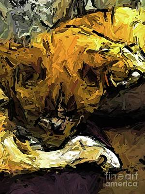 Digital Art - The Sleeping Gold Cats by Jackie VanO