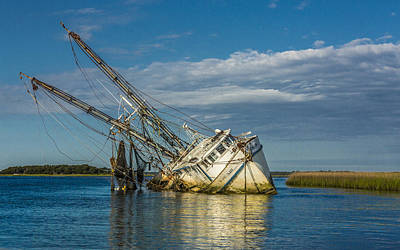 Photograph - The Sleeping Shrimp Boat by Paula Porterfield-Izzo