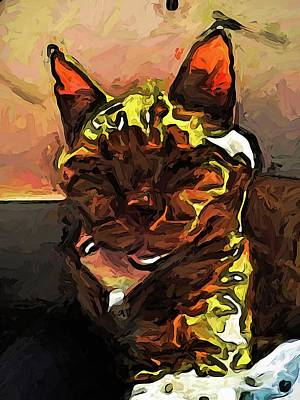 Digital Art - The Sleeping Volcano Cat With The Glowing Lava by Jackie VanO