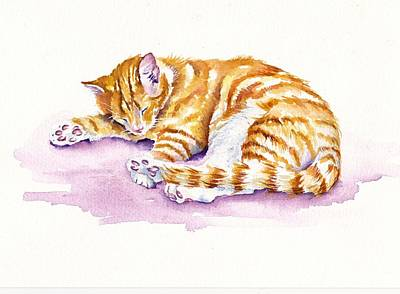 Tabby Cat Painting - The Sleepy Kitten by Debra Hall