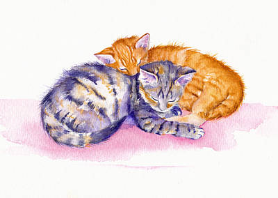 Tabby Cat Painting - The Sleepy Kittens by Debra Hall