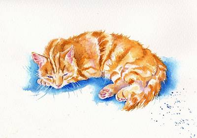 The Sleepy Marmalade Cat Original by Debra Hall