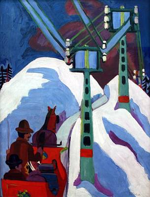 Ski Painting - The Sleigh Ride by Ernst Ludwig Kirchner