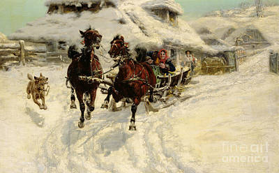 Horse-drawn Painting - The Sleigh Ride by JFJ Vesin