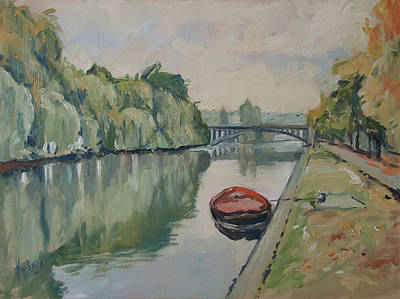 Maas Painting - The Small Boat Along The Quai Of Halage Vise by Nop Briex