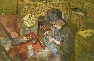 Seated Painting - The Small Drawing-room - Madame Hessel At Her Sewing Table by Edouard Vuillard