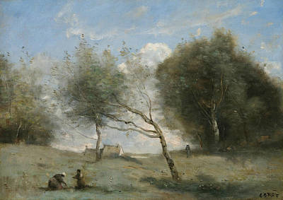 Painting - The Small Farm Meadows by Jean-Baptiste-Camille Corot