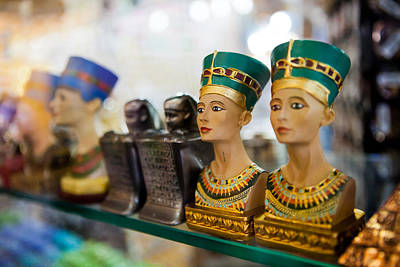 Relief Copper Art Photograph - The Small Figurines Souvenirs On The Shelf In Egypt  by Elena Saulich