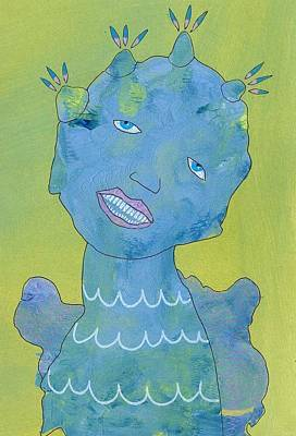 Primitive Raw Art Painting - The Smile by Bea Roberts