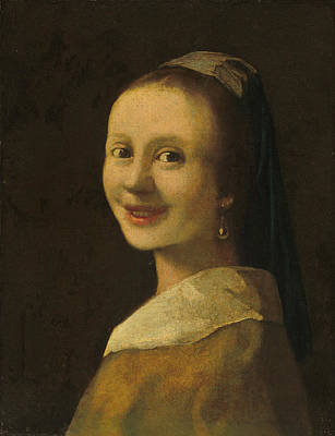 Painting - The Smiling Girl by Imitator of Johannes Vermeer