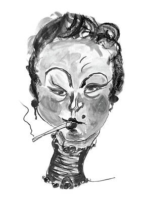 Moulin Rouge Mixed Media - The Smoker - Black And White by Marian Voicu