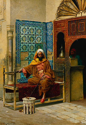 Arabian Nights Painting - The Smoker by Ludwig Deutsch
