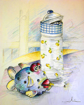 Art Miki Drawing - The Smoking Fish by Miki De Goodaboom