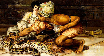 Turkish Painting - The Snake Charmer by Eugene Pavy