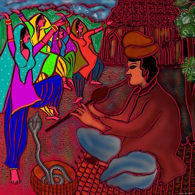 Digital Art - The Snake Charmer by Latha Gokuldas Panicker
