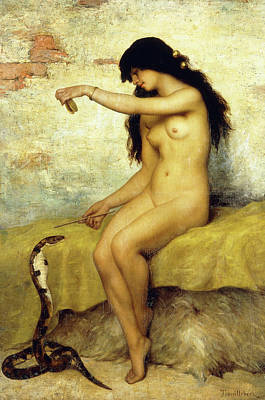 Tamed Painting - The Snake Charmer by Paul Desire Trouillebert