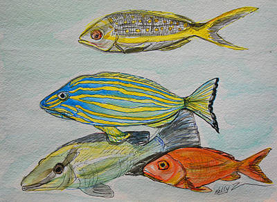 Red Snapper Mixed Media - The Snapper Four by Kelly     ZumBerge