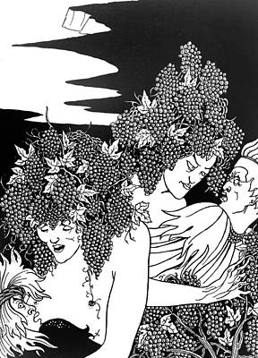 Grape Drawing - The Snare Of Vintage by Aubrey Beardsley