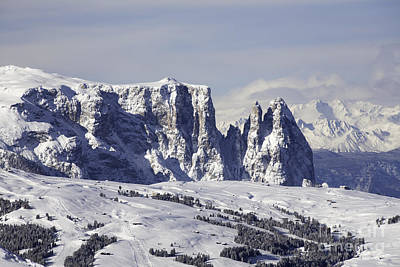 Gardena Photograph - The Snow Capped Peaks Of The Sciliar Schlern And Outcrops Of Satner Val Gardena Dolomites Italy by Michael Walters