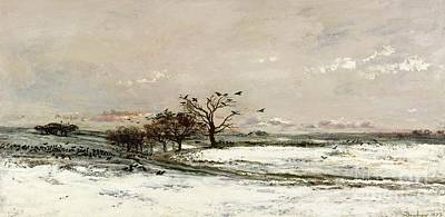 Winter Scene Painting - The Snow by Charles Francois Daubigny
