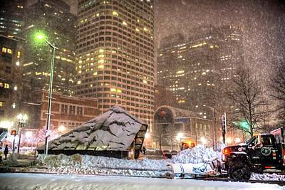 Photograph - The Snow Plow Keeping Boston Roads Clear Atlantic Ave And Summer Street Boston Ma by Toby McGuire