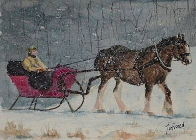 Horse And Sleigh Painting - The Snow Storm by Linda Freed