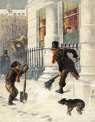 The Snow Sweepers Art Print by English School