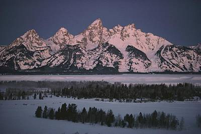 The Snowcapped Grand Tetons Art Print by Dick Durrance Ii