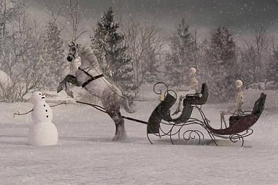 Christmas Holiday Scenery Digital Art - The Snowman by Betsy Knapp