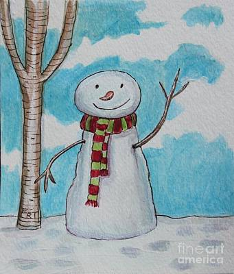 Painting - The Snowman Smile by Elizabeth Robinette Tyndall