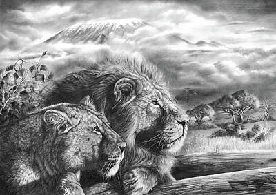 Recently Sold - Animals Drawings - The Snows Of Kilimanjaro by Peter Williams