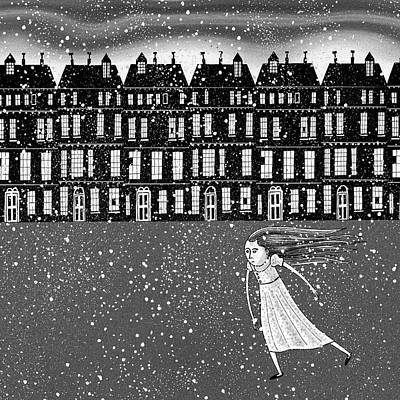 Wintry Drawing - The Snowstorm  by Andrew Hitchen