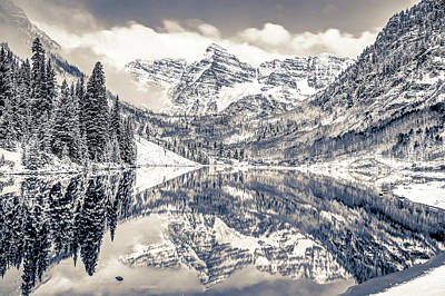 Photograph - The Snowy Bells - Maroon Bells Aspen Colorado - Black And White by Gregory Ballos