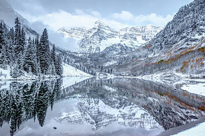 Photograph - The Snowy Bells - Maroon Bells Aspen Colorado by Gregory Ballos