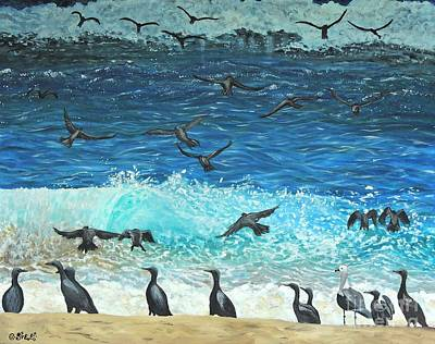 The Sociable Seagull Art Print by Caroline Street