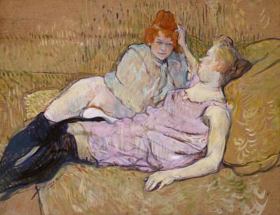 Lady Painting - The Sofa by Henri de Toulouse-Lautrec