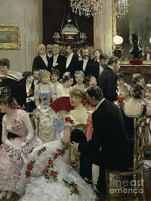 Gathering Painting - The Soiree by Jean Beraud