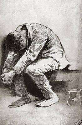 Solitary Drawing - The Solitary Prisoner. Illustration by Vintage Design Pics