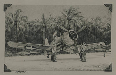 Aviators Drawing - The Solomons 1943 by Wade Meyers